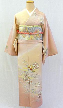 正絹訪問着フルセット「桜色地に優しい古典柄 訪問着」