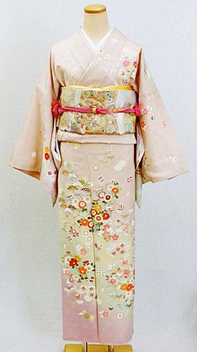 正絹訪問着フルセット「桜色地に上品な古典柄 訪問着 LLサイズ」