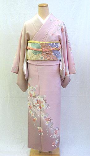 正絹訪問着フルセット「ピンク地に柔らかしだれ桜 訪問着」