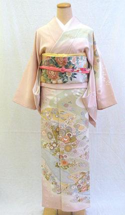 正絹訪問着フルセット「桜色地にはんなり古典柄 訪問着 Lサイズ」