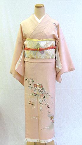 正絹訪問着フルセット「桜色地に雪輪しだれ桜 訪問着」