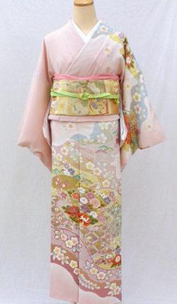 正絹訪問着フルセット「桜色地に雅な古典柄 訪問着 Lサイズ」
