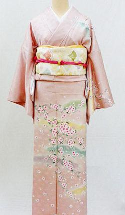 正絹訪問着フルセット「ピンク地に優しい桜々 訪問着 LLサイズ」