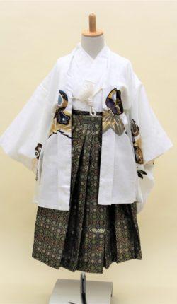 5歳男児 羽織袴フルセット「白地羽織袴」