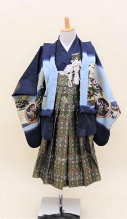 5歳男児 羽織袴フルセット「紺地羽織袴」