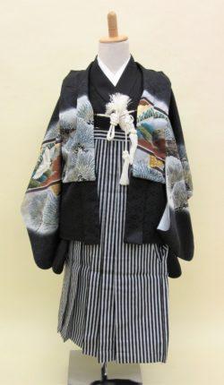 5歳男児 羽織袴フルセット「黒地羽織袴」
