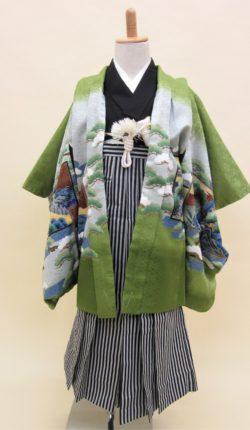 5歳男児 羽織袴フルセット「抹茶地羽織袴」