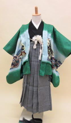 5歳男児 羽織袴フルセット「緑地羽織袴」