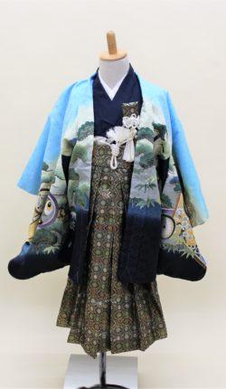 5歳男児 羽織袴フルセット「水色地羽織袴」