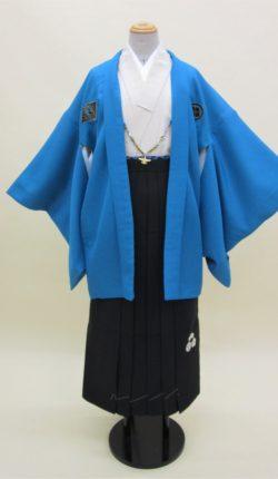 男物羽織袴フルセット「ブルー羽織刺繍袴」(ジュニアサイズ)