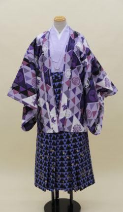 男物羽織袴フルセット「紫羽織鱗柄袴」(ジュニアサイズ)