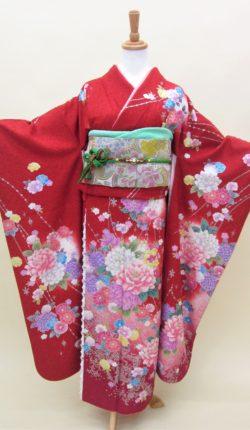成人式 正絹振袖フルセット「赤地に明るい花々 振袖」