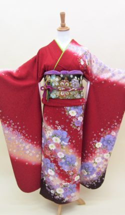 成人式 正絹振袖フルセット「赤地にオシャレ花々 振袖」
