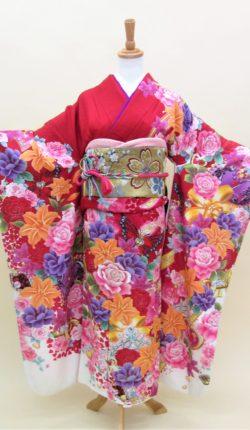 成人式 正絹振袖フルセット「赤地にあざやか花々 振袖」
