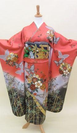 成人式 正絹振袖フルセット「赤地に粋な古典柄 振袖」