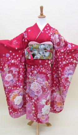 成人式 正絹振袖フルセット「赤地にオシャレ薔薇 振袖」