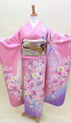 成人式 正絹振袖フルセット「ピンク地に華やか草花 振袖」