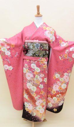 成人式 正絹振袖フルセット「ピンク地にはんなり花雪輪 振袖」