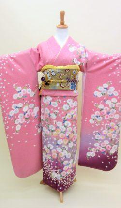 成人式 正絹振袖フルセット「ピンク地に明るい花々 振袖」