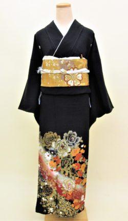 正絹黒留袖フルセット「金彩薔薇 黒留袖」