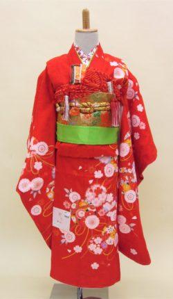 7歳女児 祝着フルセット「赤地にはんなり古典柄」