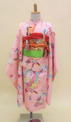 7歳女児 祝着フルセット「ピンク地に可愛い古典柄」
