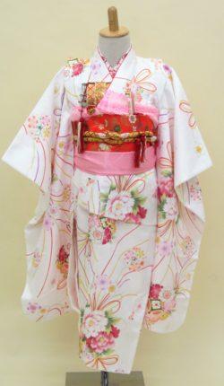 7歳女児 祝着フルセット「白地に可愛い花久寿玉」