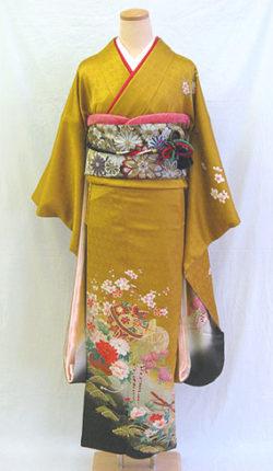 成人式 正絹振袖フルセット「金茶地に上品な古典柄 振袖」