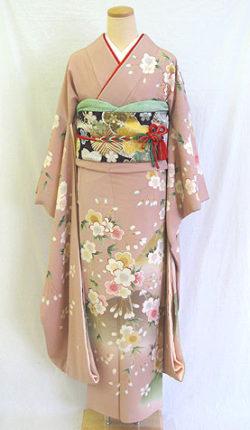 成人式 正絹振袖フルセット「ピンク地に上品なしだれ桜 振袖」