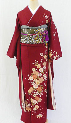 正絹振袖フルセット「赤地に優しいしだれ桜 振袖」