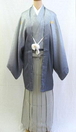 成人式 男物羽織袴フルセット「グラデーショングレー羽織袴」