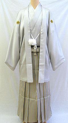 成人式 男物羽織袴フルセット「映えるシルバーグレー羽織袴」