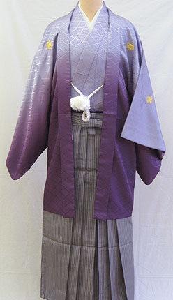 成人式 男物羽織袴フルセット「グラデーション紫羽織袴」