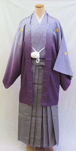 男物羽織袴フルセット「グラデーション紫羽織袴」