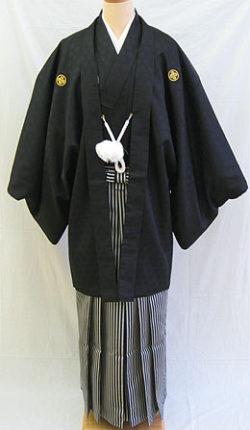 成人式 男物羽織袴フルセット「黒紋付羽織袴」