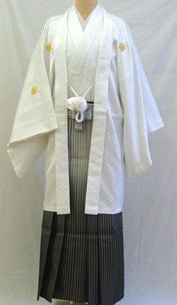 成人式 男物羽織袴フルセット「白羽織グラデーション袴」