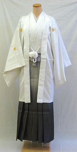 男物羽織袴フルセット「白羽織グラデーション袴」