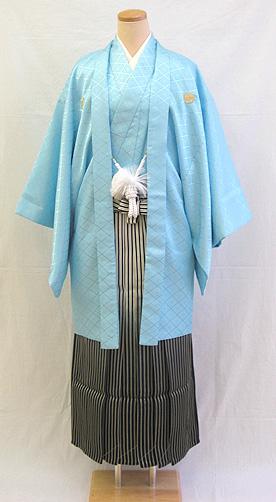 成人式 男物羽織袴フルセット「ブルー羽織グラデーション袴」