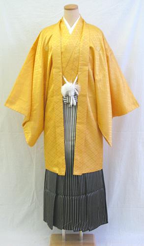 男物羽織袴フルセット「黄色羽織グラデーション袴」