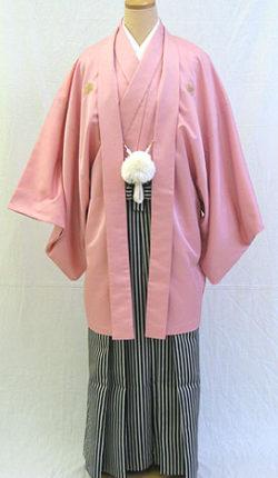 成人式 男物羽織袴フルセット「ピンク羽織袴」