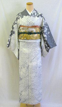 正絹訪問着フルセット「白地に粋な墨桜 訪問着」
