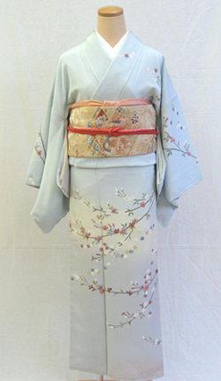 正絹訪問着フルセット「空色地に優しいしだれ桜 訪問着」