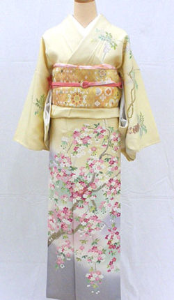 正絹訪問着フルセット「クリーム地に華やか桜と藤 訪問着」