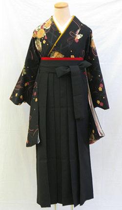 小振袖・袴フルセット「黒地にシック菊玖珠球」