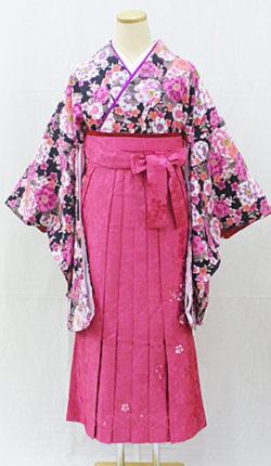 小振袖・袴フルセット「黒地に明るい花々」