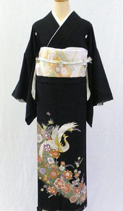 正絹黒留袖フルセット「鳳凰に正倉院文様 黒留袖」