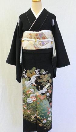 正絹黒留袖フルセット「鶴に吉祥花文様 黒留袖」