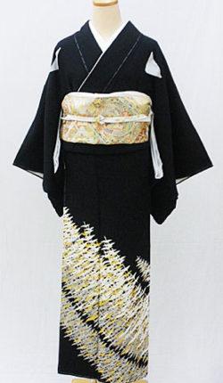 正絹黒留袖フルセット「金彩千羽鶴 黒留袖」