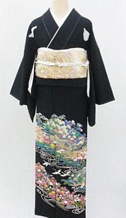 正絹黒留袖フルセット「鶴に花景色 黒留袖」