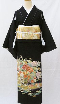 正絹黒留袖フルセット「金彩花車 黒留袖」